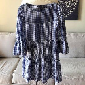 Zara Blue White Gingham Bell Sleeve Dress Small